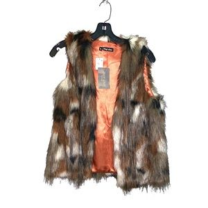 Dor Dor Multi Colored Faux Fur Vest S